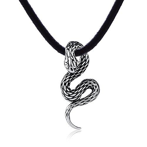 Collar de piel para hombre DonDon 50 cm con colgante de serpiente...