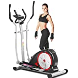 ANCHEER Elliptical Machine for Home Uses, Magnetic Training Machine with Pulse Rate Grips and LCD Monitor, Smooth Quiet Driven for Home Gym Office Workout Max Capacity Weight 350LBS