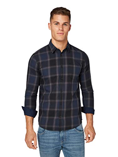TOM TAILOR Herren Blusen, Shirts & Hemden Kariertes Hemd Black Navy Big Check,M