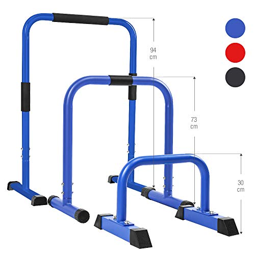 GORILLA SPORTS® Dip Barren 2er-Set 61 x 38 x 73 cm – Push Up Stand Bar Parallettes Blau bis 200 kg belastbar