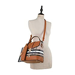 Fashion Casual Faux Leather Shoulder Bag Mini Backpack School Bag for Women 2pc   Brown/Brown