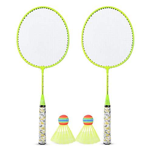 Juego de raquetas de bádminton portátil, juego de deportes de interior/exterior con 2 bolas de entrenamiento liviano para principiantes Niños Niños Niñas Regalo 20.2x53.5cm/8.0x21in(Amarillo)