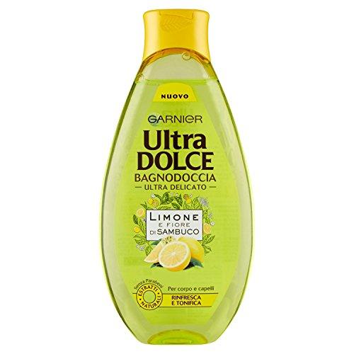 Garnier Ultra Dolce Limone e Fiore di Sambuco Bagnodoccia Tonificante Pelle Fresca e Morbida, 500 ml - [pacco da 6]