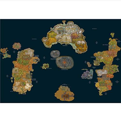 Wow Game Map Poster Hight Kwaliteit Canvas Schilderij Hd Hight Kwaliteit Woondecoratie Voor Kinderkamer 40X50Cm (N: 0448)