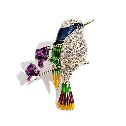 YAZILIND Rosa Magpie aleación Broche Rhinestone Ave Abrigo Decorativo Pin Mujeres cumpleaños...