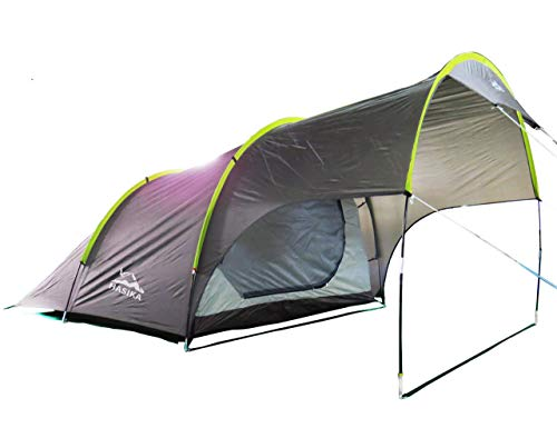 Outdoor Camping Family Tent with Porch Double Layer Waterproof Portable 4 Person 3 Season Durable Brown