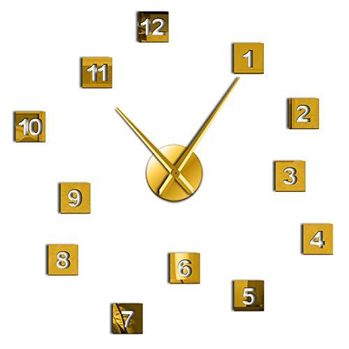 hufeng Reloj de Pared Moderno DIY Acrílico Efecto Espejo Reloj de Pared Tamaño 3D Relojes de Pared Sala de Estar Decoración del hogar Manos largas Aguja Reloj de Pared Reloj de Oro 37 Pulgadas