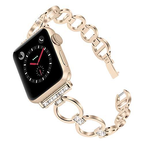 QINJIE Correa Compatible con Apple Watch 1/2/3/4, Correa de Pulsera de Acero Inoxidable para Mujer, Pulsera con Correa de Diamantes de imitación,Vintage Gold,42mm