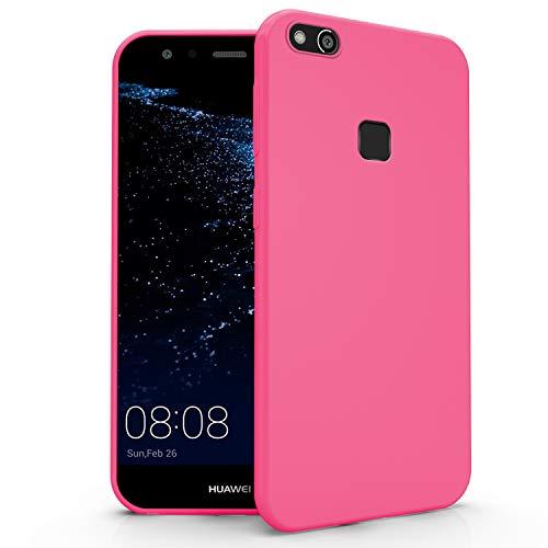 N NEWTOP Cover Compatibile per Huawei P10 Lite, Custodia TPU Soft Gel Silicone Ultra Slim Sottile Flessibile Case Posteriore Protettiva (Fucsia)