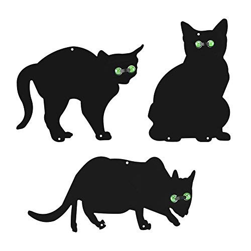 Scare Cats, 3 x Metal Garden Scarers Cats with Reflective Marble Eyes,...