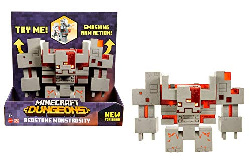 Minecraft Dungeons Redstone Monstrosity, Large Battle Figure (10-inch by 7.3-inch), Action and Adventure Toy Based on Video Game, Gift for Kids Age 6 and Older