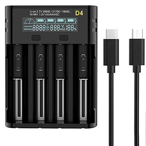 18650 Ladegerät Smart Universal LCD Battery Charger for 18650 18500 18350 17670 17500 16340 14500 10440 20700 21700 22650 26650 3.7v Li-Ion NI-MH NI-Cd AAA AA LiFePO4 Akku Batterieladegerät