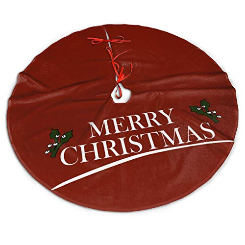 MSGUIDE Merry Christmas Christmas Tree Skirt Large Tree Mat for Xmas New Year Festive Holiday Party Decorations 48 Inch