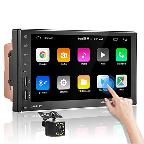 podofo Double Din Android Car Stereo Support Split Screen Bluetooth GPS 7 Inch HD Touch Screen Car Radio Audio with Backup Camera Car Multimedia WiFi FM Radio Dual USB Phone Mirror Link