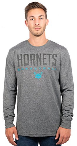 Ultra Game NBA Charlotte Hornets Mens Active Long Sleeve Tee Shirt, Heather Charcoal, Small