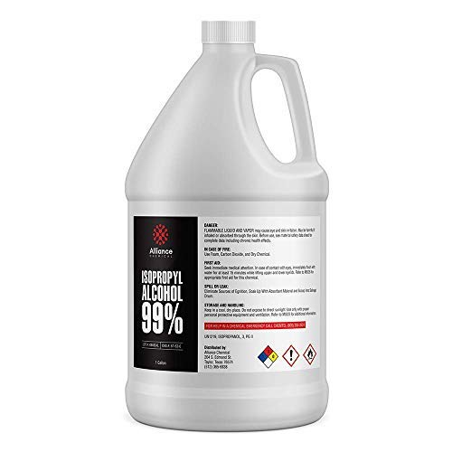 Alliance Chemical - Isopropyl Alcohol 99%(IPA) - One Gallon (4) 32 Fl Oz Bottles w/Reusable Leak and Evaporation Proof Seal - Concentrated Rubbing Alcohol - Made in USA