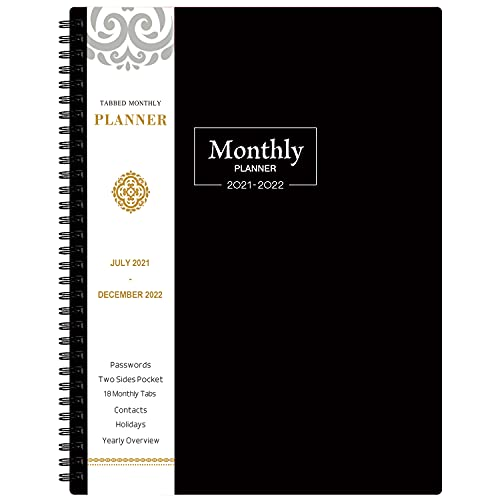 2021-2022 Monthly Planner/Calendar - 18-Month Planner with Tabs & Pocket, Contacts and Passwords, 8.5' x 11', Thick Paper, Jul. 2021 - Dec. 2022, Twin-Wire Binding - Black