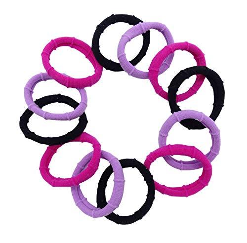 irresistible1 Lot de 12 élastiques à cheveux en tissu jersey doux et extensible - Fuchsia, lilas, noir