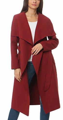Malito Damen Mantel lang mit Wasserfall-Schnitt | Trenchcoat mit Gürtel | weicher Dufflecoat | Parka - Jacke 3040 (Bordeaux)