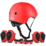 ValueTalks Protección Patinaje, Protección Infantil Consta de Casco Ajustable Rodilleras Coderas, Patinaje Ciclismo Monopatín y Deportes Extremos(Rosa) (Rojo)