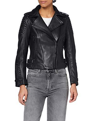 Superdry A3-Leather Chaqueta de Cuero, Black, 16 para Mujer
