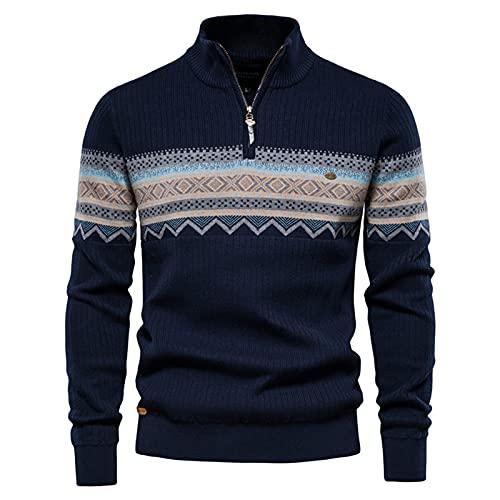 SSBZYES Suéter para Hombre Suéter con Cremallera De Cuello Alto para Hombre Suéter De Punto para Hombre De Punto Casual Suéter De Color Sólido para Hombre De Moda De Negocios De Cuello Alto