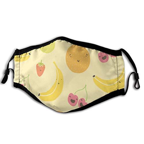 N/A masker bananen, aardbeien, kersen, appels, sinaasappels en andere vruchten zacht en comfortabel, winddicht en stofdicht, geschikt voor iedereen dagelijks dragen