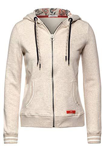 Cecil Damen Sweatjacke mit Innenprint Soft Camel Melange XL