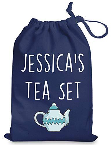 Juego de té personalizado para juguetes de cocina con cordón (grande 35 cm x 48 cm), color azul marino