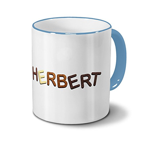 printplanet Tasse mit Namen Herbert - Motiv Schokoladenbuchstaben - Namenstasse, Kaffeebecher, Mug, Becher, Kaffeetasse - Farbe Hellblau