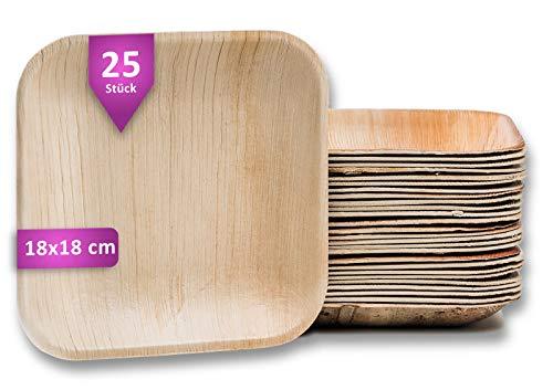 Waipur Bio Palmblattteller - 25 Teller Eckig 18x18 cm - Premium Einweggeschirr kompostierbar - Umweltfreundliches Partygeschirr - Palmblatt Geschirr