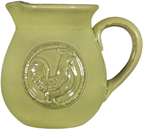 Home Essentials & Beyond Beautiful Serving Ceramic Medallion Rooster Water Juice Milk Pitcher .75 Quart Small Avacado Green Beverage Dispenser Jar Jug Cooler Vase - (Small, Green-Medallion Rooster)