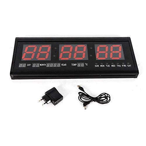 Reloj digital de pared LED rojo, atenuación automática, pantalla grande de datos con termómetro, calendario perpetuo para lugares públicos, oficina, dormitorio, sala de estar