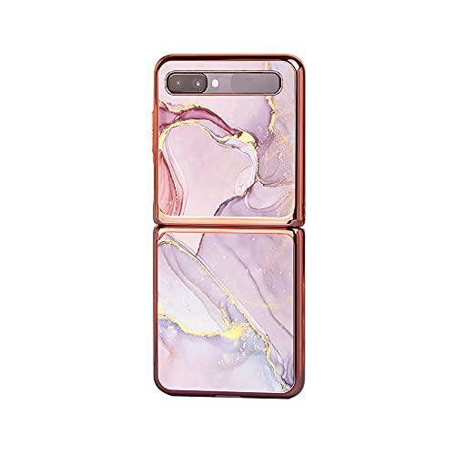 GOGODOG Compatible con Samsung Galaxy Z Flip Funda Cases Cover Cobertura Total Ultra Delgada Anti Resbalón Rasguño Resistente Concha Dura Caja de teléfono móvil con Espejo de Cristal Plegado (71)
