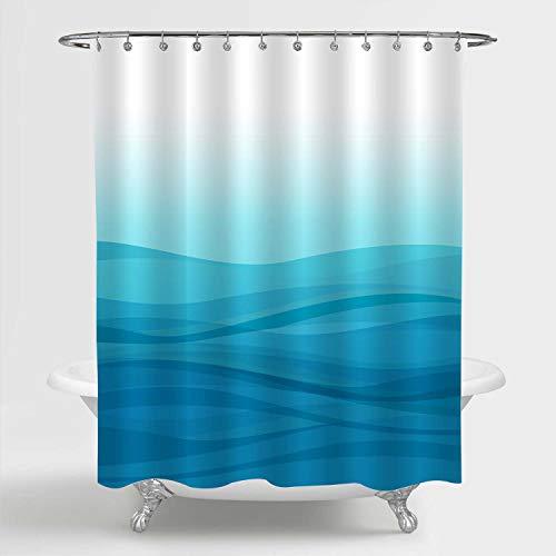 MitoVilla Light Blue Ombre Shower Curtain Set with Hooks, Modern Simple Gradual Color Design Abstract Sea Ocean Wave Striped Bathroom Decor, Blue, 72' W x 72' L Standard