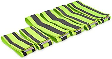 kwmobile 6X Reflective Armbands - High Visibility Outdoor Safety Bands for Jogging Cycling Walking - Neon Reflector...