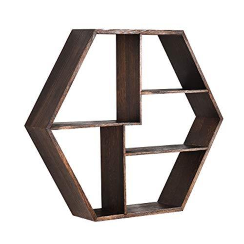 Llsdls Estante de pared hexagonal creativo, marco de madera decorativo de madera maciza, colgador de pared, soporte de tetera para decoración de pared de pared, estante de flores, estante flotante est