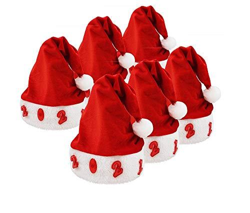 Pack 6 Gorro Papá Noel de Navidad de Santa Claus de Terciopelo con Luz intermitente de Número 2021 para Adultos y Niños Sombreros Rojos