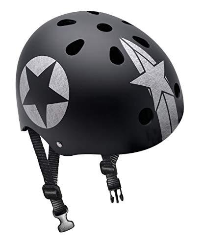 Stamp Jh674112 Skate Helmet Black Star with HEADRING, Unisex niños, Negro, 6+