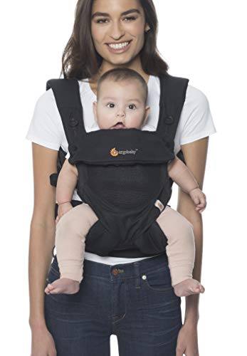 Ergobaby Marsupio Neonati Ergonomico Estivo, 4-Posizioni 360 Cool Onyx Black, Porta-Bebè Traspirante