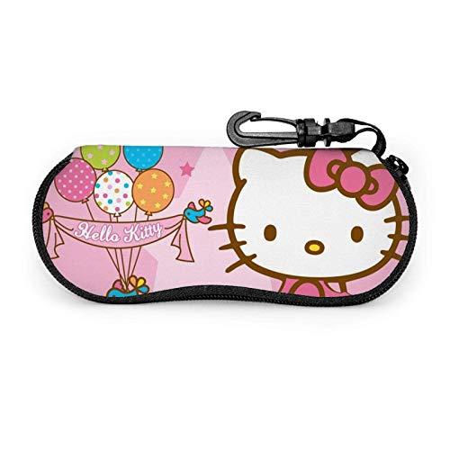 Pink Hello Kitty Brillenetui Männer Frauen mit Karabiner Teens Jungen Mädchen Brillentaschen Mode Sonnenbrille Soft Case
