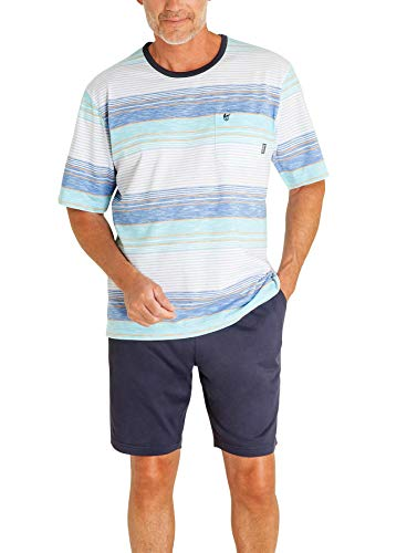 hajo - Herren Schlafanzug kurz (Shorty) hellblau weiß Klima-Komfort* 56 / XXL