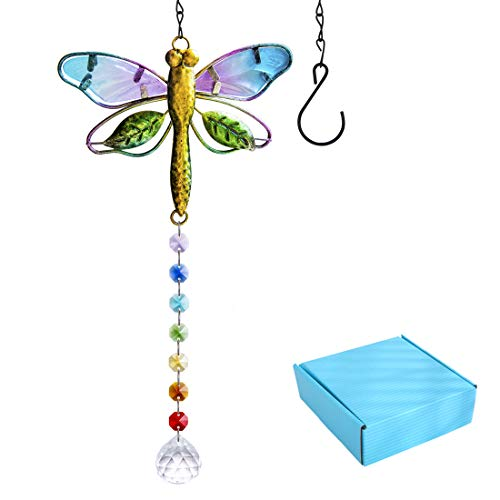 YU FENG Suncatcher Metal Dragonfly Crystal Prisms Rainbow Maker Pendant Window Hanging Ornament for Garden Home Decor