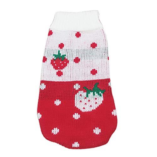 CLIN Haustier Pullover Weihnachten Haustier Pullover Cartoon Hund Kleidung Winter für kleine Hunde Haustier Kleidung häkeln Stoff Mantel Jersey Hund-M Größe 8