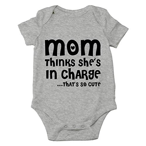 Mom Thinks She's in Charge. That's So Cute - I Love My Mommy - Cute One-Piece Infant Baby Bodysuit (Newborn, Sports Grey)
