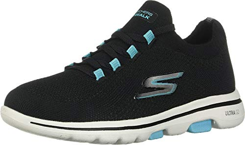 Skechers Performance Go Walk 5-Uprise, Zapatillas Mujer, Negro (BKTQ Black Textile/Trim), 36 EU