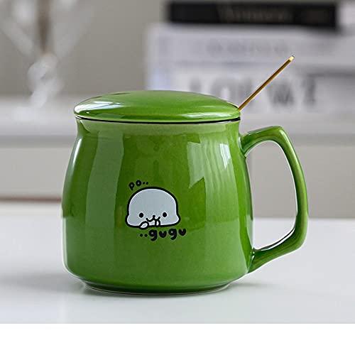 Xiaobing Desayuno Creativo Taza de cerámica con Tapa Cuchara Personalidad Tendencia Taza de Agua Taza de café para el hogar -D325-360ml