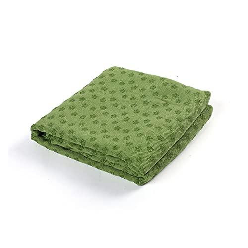 LCONG - Toalla de yoga antideslizante, alfombrilla absorbente para entrenamiento de pilates (183 x 63 cm), color verde
