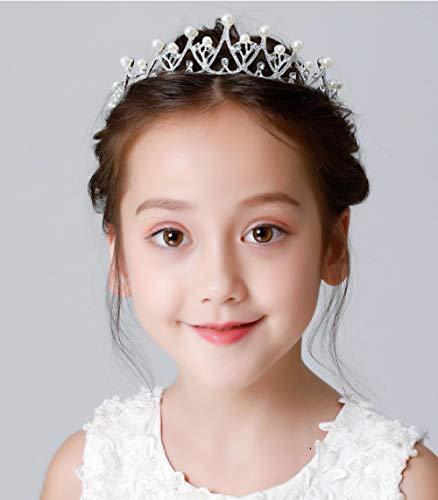 Kinderen Kroon Tiara Prinses Meisjes Haaraccessoires Parel Strass Headdress Baby Verjaardag Kinderprestaties Accessoires Haar Hoop