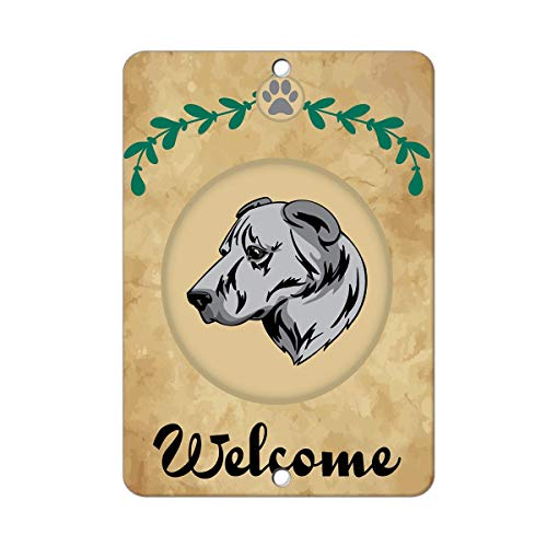 qidushop Welcome armenischer Gampr Hund Blechschild Geschenk Yard Dekorative Aluminium Metallschild Post